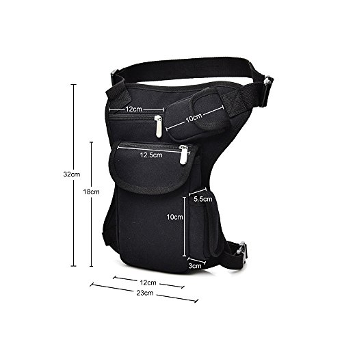 Canvas Drop Leg Bag Sports Racing Waist Bag Pack for Hiking Cycling Vacation Black by Groupcow (Image #2)
