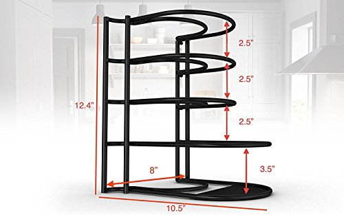Large Product Image of Extreme Matters Heavy Duty Pan Organizer - Bottom Tier 1 Inch Taller for Larger Pans - No Assembly Required - Black