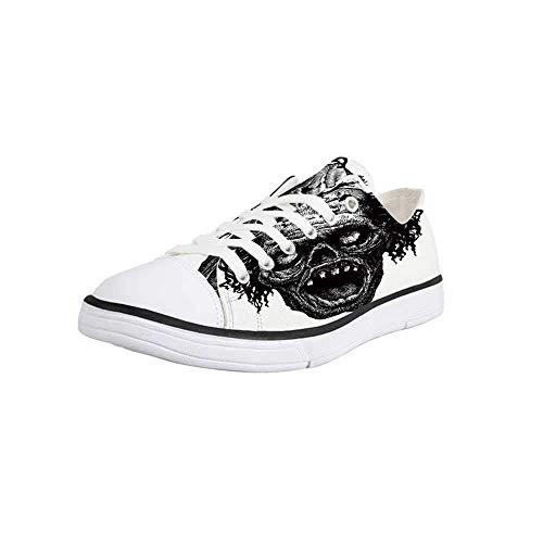 Canvas Sneaker Low Top Shoes,Halloween,Zombie Head Evil Dead Man Portrait Fiction Creature Scary Monster Graphic Women 12/Man -