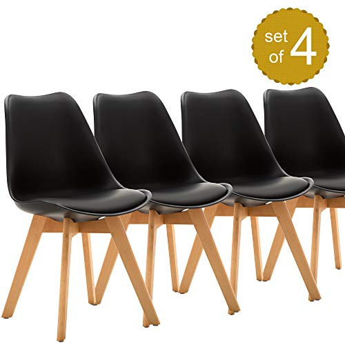 Dining Side Chairs Eames-Style Mid Century Modern DSW Upholstered Side Chair for Room Living Room Bedroom Kitchen with Beech Wood Legs, Set of 4 (Black) (Set Bedroom Beechwood)