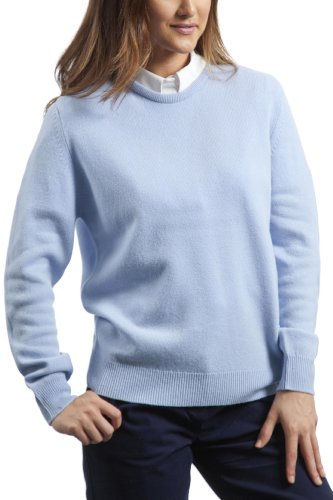 Great and British Knitwear - Jersey liso de lana con cuello redondo para mujer. Hecho en Escocia Heaven Blue