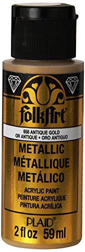 Gold Antique Craft - FolkArt Metallic Acrylic Paint in Assorted Colors (2 oz), 658, Antique Gold