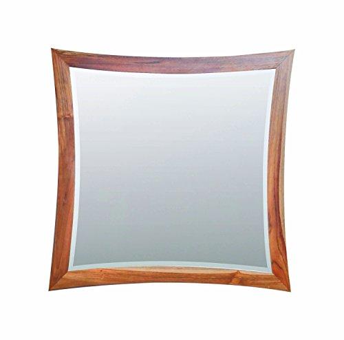 EcoDecors Curvature Teak Framed 36x35 Wall Mirror in Natural Teak (Frame Teak Plantation)