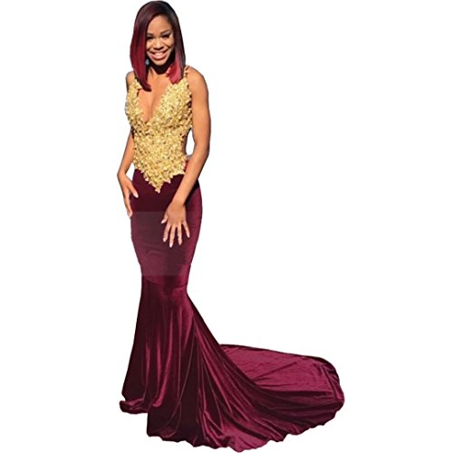 Chady Sexy Black Girl Prom Dresses 2017 V-neck Sleeveless Gold Lace Applique Mermaid African Burgundy Velvet Prom Dresses by Chady