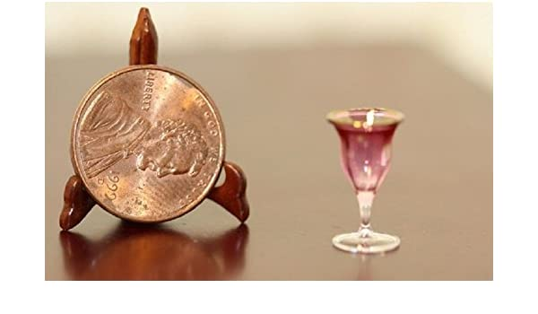 """Dollhouse Miniature Artisan Cranberry /"""" Wine Glass /"""" by Philip  Grenyer"""