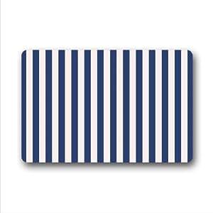 Best Custom Doormat - White and Navy Blue Stripe Indoors/Outdoors Doormat