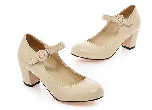 XIE Buckle Zapatos de Tacón Alto Resorte Dedo del pie Redondo para Ayudar a los Zapatos de Ocio de Gran Tamaño de Las Mujeres, Meters White, 42 METERSWHITE-41