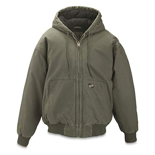 Jacket Insulated Tundra (Gravel Gear Men's Tundra Insulated Hooded Jacket, Moss, L)