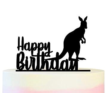 Happy Birthday Kangaroo Australia Cake Cupcake Topper para ...