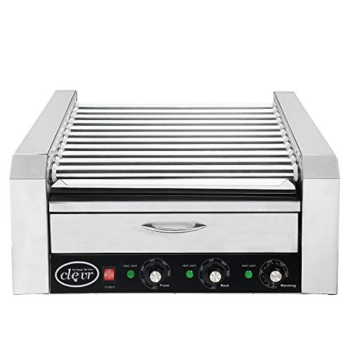 Clevr Commercial 11 Roller and 30 Hotdog Roller Machine, with Bun Warming Drawer, Hot Dog Grill Cooker with Bun Warmer