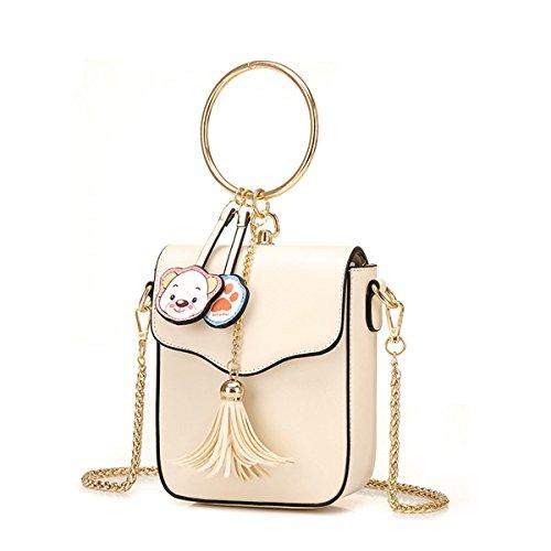 Círculo bolso cute mini cadena paquete diagonal cruzado, negro Blanco-crema