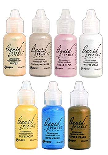 (Ranger - Liquid Pearls Favorites Bundle of 7 Colors - Ballerina, Copper Pearl, Platinum Pearl, White Opal, Bisque, Buttercup and Ocean Blue)