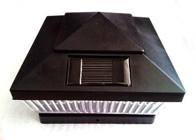 Plastic Black 5 X 5 Outdoor 5 LED 78Lumens Solar Post Cap Light Designed to fit on 5x5 Hollow Vinyl/PVC/Plastic or Solid Wood/Composite Posts