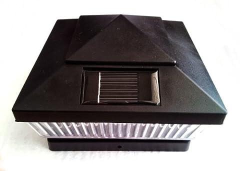 Plastic Black 6 x 6 Outdoor 5 LED 78Lumens Solar Post Cap Light Designed to fit on 6x6 Hollow Vinyl/PVC/Plastic or Solid Wood/Composite Posts