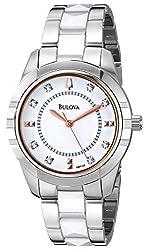 Bulova Women's 98P135 Diamond-Accented Dial Watch in Silver Tone