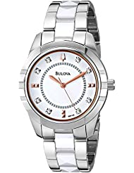 Bulova Womens 98P135 Diamond-Accented Dial Watch in Silver Tone