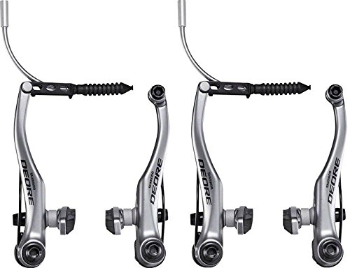 (SHIMANO Deore T610 Linear V-Brake Front and Rear Silver Bicycle Brakes)