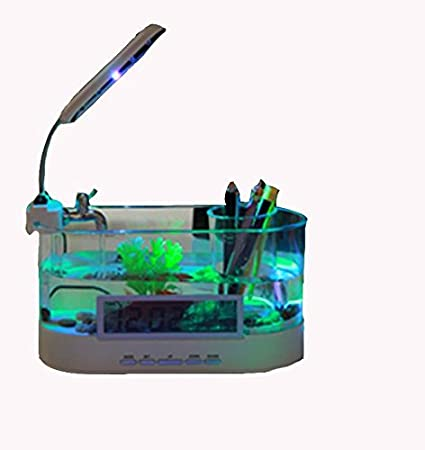 AN-LKYIQI USB mini Desktop LCD lámpara luz pecera acuario LED reloj calendario con filtro