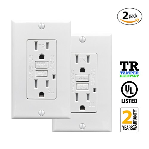 Ground Fault Wall Outlets (PROCURU 2-Pack - 15A Tamper Resistant GFCI Receptacle Outlet with LED Indicator with Wall Plate and Screws, White - UL Listed (2-Pack))