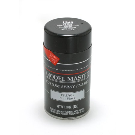 TES1949 Flat Black Testors Model Master Enamel Spray Paint 3 oz can ()