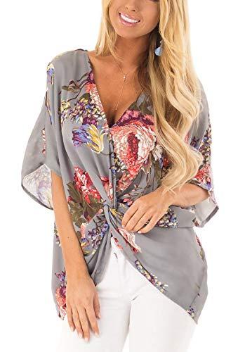Sousuoty Batwing Sleeve Shirts for Women Low Cut Tops for Women Sexy Grey 2XL