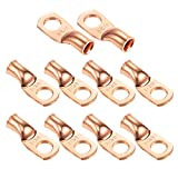 """Ampper Heavy Duty Copper Wire Lugs, UL Eyelets Ring Crimp Copper Terminal Connectors for Battery Cable Ends and More (1 Awg, 3/8"""" Ring, 10 Pcs)"""
