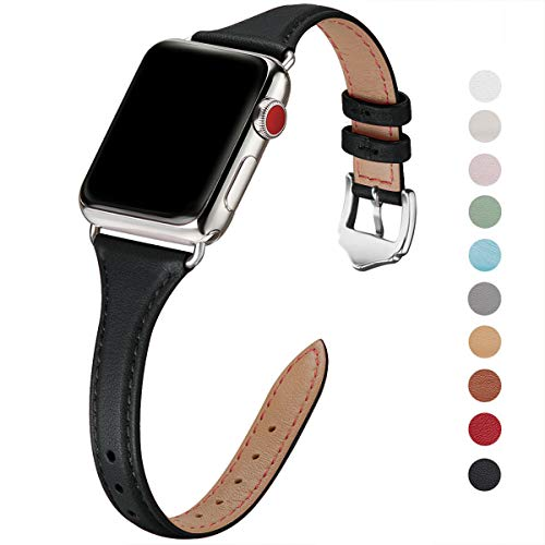 WFEAGL Leather Bands Compatible with Apple Watch 38mm 40mm 42mm 44mm, Top Grain Leather Band Slim & Thin Replacement Wristband for iWatch Series 4/3/2/1 (Black Band+Silver Adapter, 38mm 40mm)
