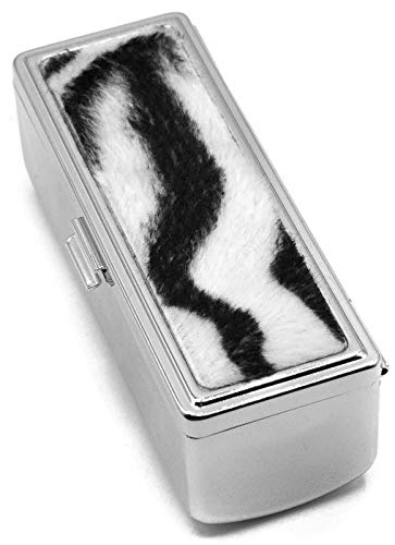 Zebra Print Boxed Travel Lipstick Case With Mirror