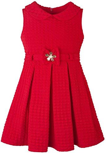 Lilax Little Girls' Solid Sleeveless Easter Toddler Princess Dress with Belt 4T Red (School Girl Fancy Dress Ideas)