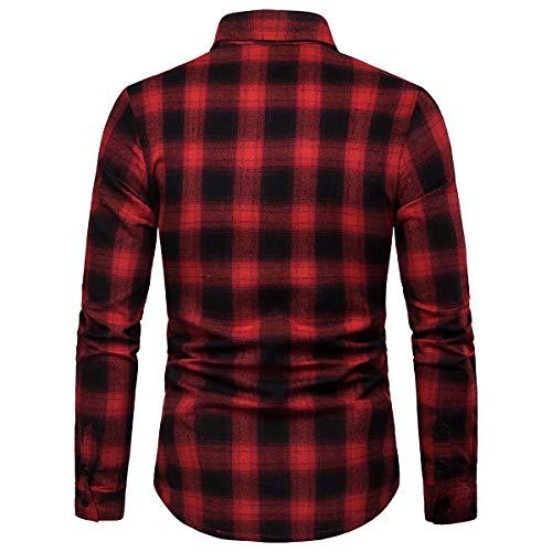 vestibilità Allthemen a casual lunghe uomo da quadri a rossa in Camicia maniche cotone dritto UwFUq67