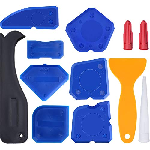 (12 Pieces Caulking Tool kit Silicone Sealant Finishing Tool Grout Scraper Caulk Remover and Caulk Nozzle and Caulk Caps for Smoothing Sealing Lines, Caulking Lines (Blue))