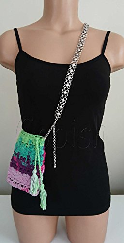 Handmade Silver Plated Metal Flower Belt with Crochet Colorful Purse with Tassels Unique Design