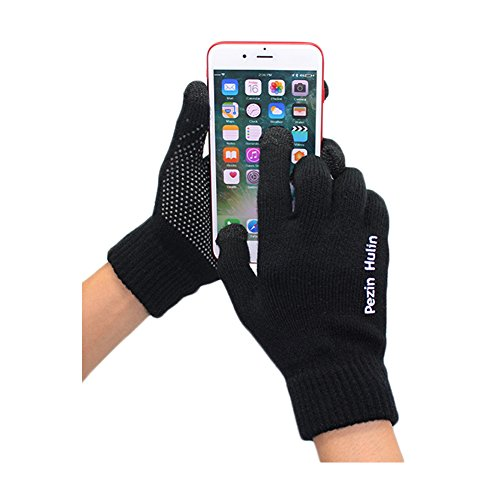 Knit Touch Screen Gloves, Winter Thick Warm Driving Texting Glove for Man&Women, Non Slip Soft Elastic Iphone Gloves - Pezin & Hulin (Black)