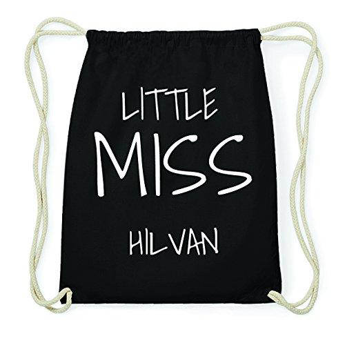 JOllify HILVAN Hipster Turnbeutel Tasche Rucksack aus Baumwolle - Farbe: schwarz Design: Little Miss