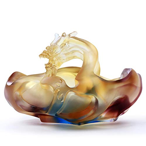 Hongteng Creative Personality Chinese Ashtray High-Grade Glass Home Office Desktop Decoration Large Simple Light Luxury Ornaments 9X12.5X11.5cm