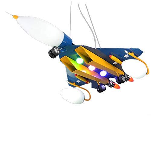 (DECORATZ Children's Room Wrought Iron Cartoon Aircraft Ceiling Lamp, LED Glass Lampshade Modern Creative Chandelier Boy Girl Bedroom Study Lighting Fixture)