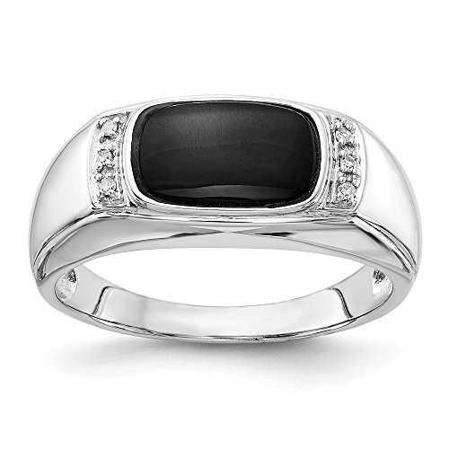14k White Gold Black Onyx A Diamond Mens Band Ring Size 10.00 Man Fine Jewelry Gift For Dad Mens For ()