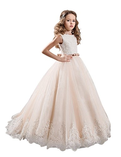 KissAngel Ivory Long Lace Flower Girl Dresses Champagne Less Party Dress (4, White &Champagne)