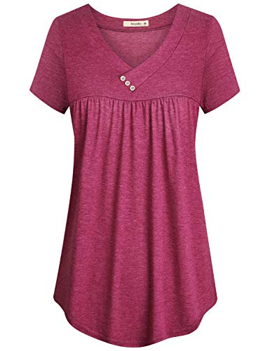 - Cyanstyle Women's V Neck Short Sleeve Button Detail Pleated Shirt Tunic Blouse Top (Red, X-Large)