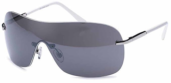 Stylische Unisex Kunststoff Sonnenbrille Randlos Monoscheibe UV 400 Filter- Im Set mit Etui (Grau Verlaufend) 86rrFR2u