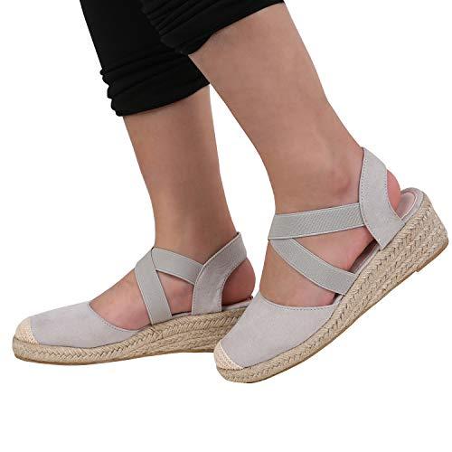 5cc014f8e0f9 PiePieBuy Womens Espadrille Platform Wedge Sandals Closed Toe Mid Heel  Ankle Sandals