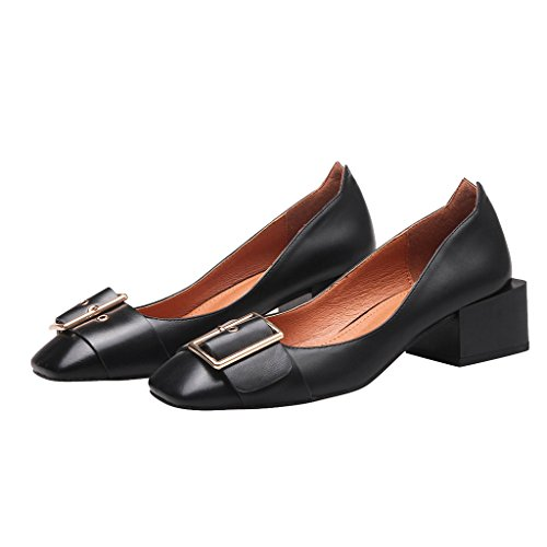 Dear Time Women Block Heel Buckle Decorated Pumps Shoes Black ZaJm2D