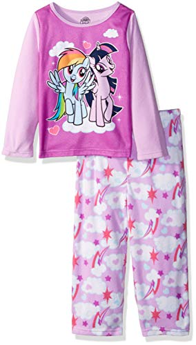 (My Little Pony Girls' Toddler Magical Friends 2-Piece Fleece Pajama Set, Dash/Sparkle,)