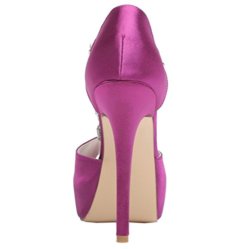Stiletto Shoes Toe Womens T Rhinestones Wedding Pumps High Platform Strap Satin Bridal Meijia Peep Purple Heel wpx6pSq