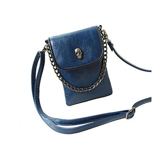 BXT Womens Gothic Studded Skull PU Leather Summer Mini Satchel Handbag Cross Body Bag (Skull Gothic Bag)