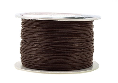 (Mandala Crafts 1mm 109 Yards Jewelry Making Beading Crafting Macramé Waxed Cotton Cord Thread (Bistre Brown))
