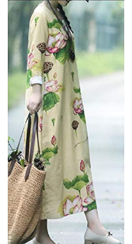 Jaycargogo Lin Manches Longues Imprimé Floral Lâche Femmes Coton Robe Maxi 3 Cru