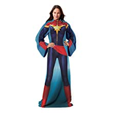 "Marvel's Captain Marvel, ""Mighty Captain Marvel"" Adult Comfy Throw Blanket with Sleeves, 48"" x 71"", Multi Color"