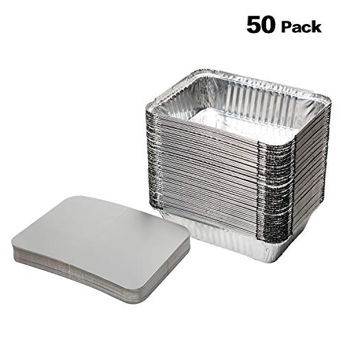 XIAFEI Disposable Durable Aluminum Rectangular Foil Pans, TakeOut Containers, Pack of 50 With Board Lids by XIAFEI