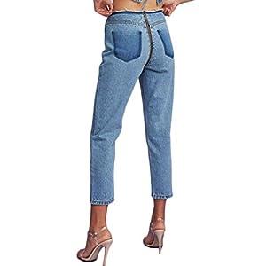 D Jill Women's Relax Fit Straight Leg Jeans High Waist Ripped Denim Crop Pants